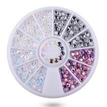 100 Boxes 3D Nail Art Decorations in Wheel Irregular Beads Nail Rhinestone Mixed Color Caviar Beads Flat Bottom Nail Studs