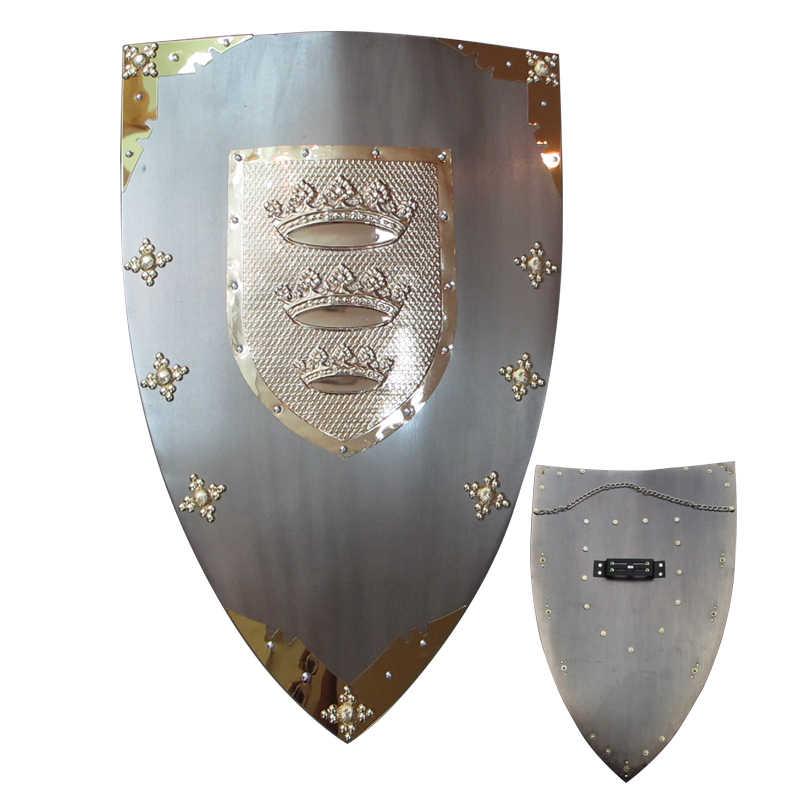 Средневековый рыцарский щит настенные подвесные украшения стальной материал-Корона настоящие металлические щиты серая поверхность покрытия