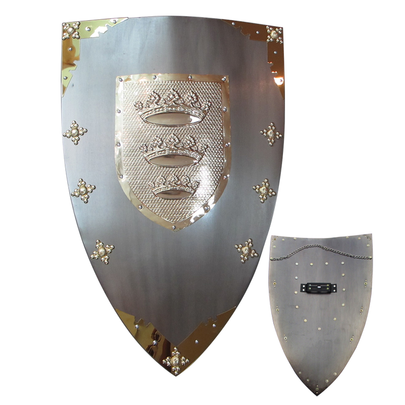 Medieval  Knight Shield Wall Hanging Ornaments Steel Material-Crown Real Metal Shields Grey Plating Surface Medieval  Knight Shield Wall Hanging Ornaments Steel Material-Crown Real Metal Shields Grey Plating Surface