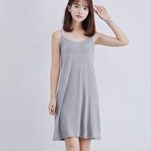Women Dress Full Slips Ladies Size Plus Sleveeless Summer Modal Camisole Under Dress Underdress Lady M-Xl Gray Petticoat 2018