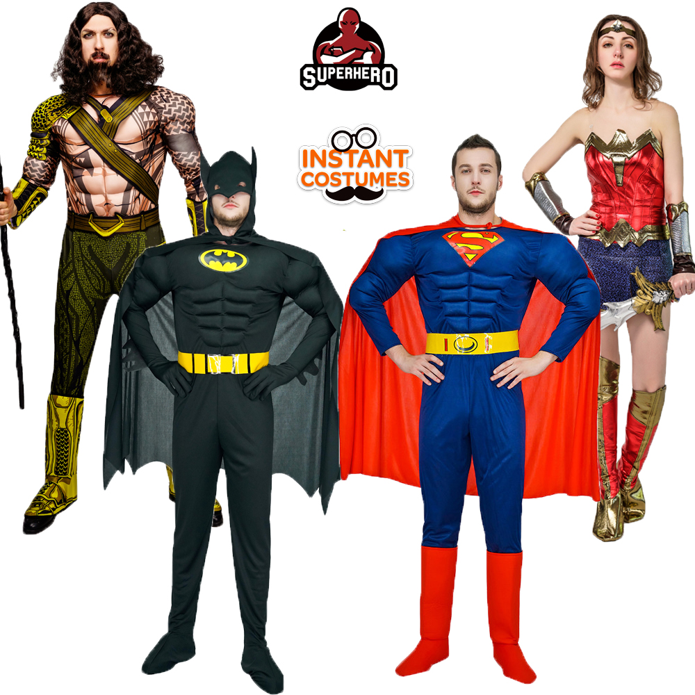 New Arrival Superhero Male Costumes Masquerade Super man/Batman /Aquaman Cosplay Muscle Superhero Costumes for Adults