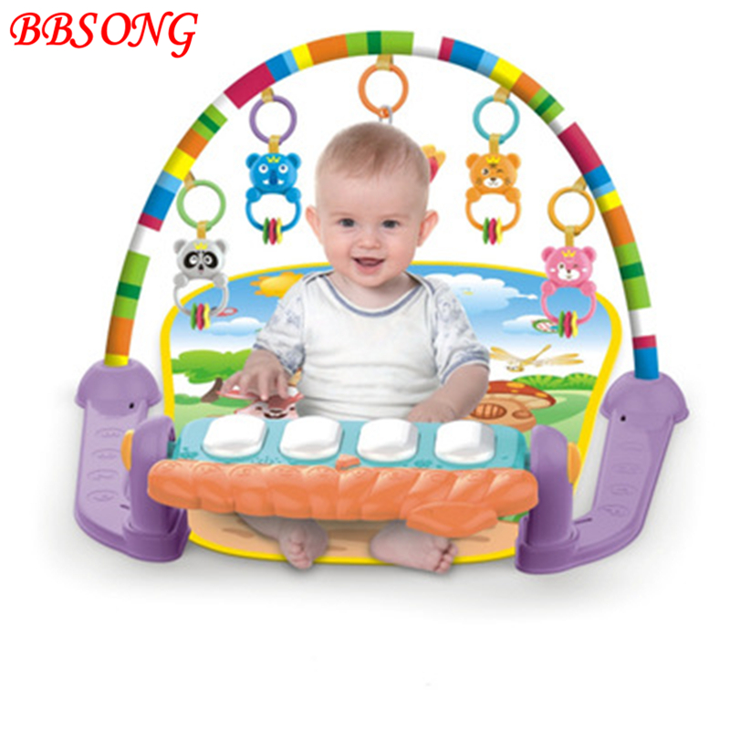 BBSONG New Baby Play Mat Infant Crawling Game Pad Kids Gym Frame Fitness Rack Activity Educational Play Mat Multifunctional Toys