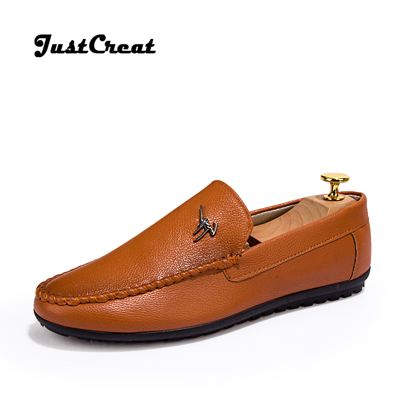 2016 new fashion mens shoes loafers genuine leather brand
