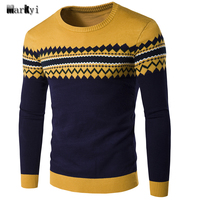 MarKyi 2016 Autumn Patched Pullover Mens Brand Sweater Good Quality O Neck Knitting Patterns Mens Sweaters