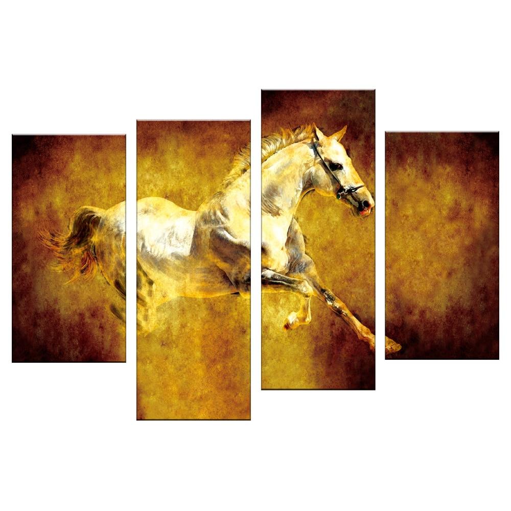 4 Pcs/Set Animal White Horse Canvas Prints Paintings Retro Jumping ...