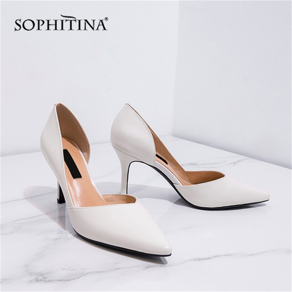 SOPHITINA Elegant Women's Pumps Sexy Super Thin Heels Pointed Toe Shallow Shoes High Quality Genuine Leather Party Pumps MO155