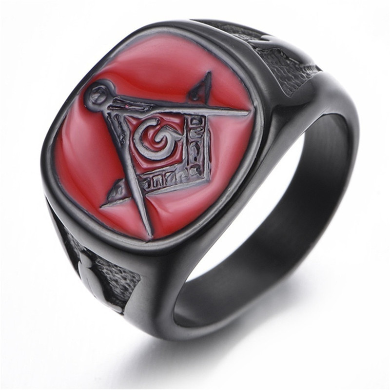 Black Plated College Style Freemason Ring Masonic Rings For Men Red Enamel Wedding Band Ring Jewelry,Christmas Ring