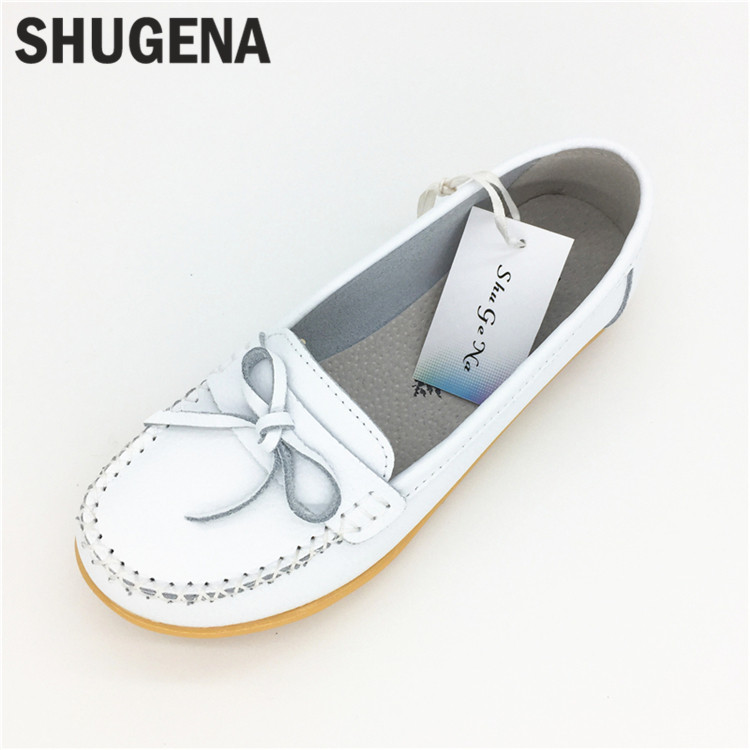 C new Summer genuine leather women white shoes female casual flat women loafers shoes slips leather black flat women's shoes