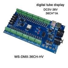 DC5V-36V,digital tube display,3CH/4CH/12CH/18CH/24CH/36CH led RGB/RGBW DMX512 Decoder controller for led strip light led module smart sm354 18ch