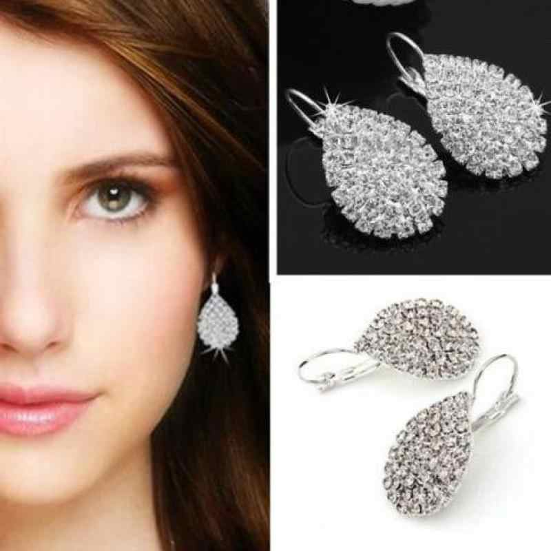 Ladies Wind Claw Chain Water Droplets Full Rhinestones Earrings, The New High-end Exquisite Earrings Women Bridal Jewelry