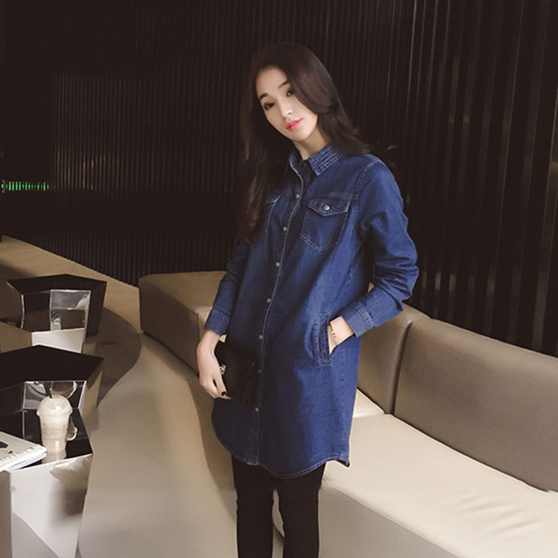 Large Size Women Denim Jacket 2019 Spring New Medium Long Coat Autumn Single Buckle Denim Outerwear Leisure Female Jackets FC78 in Jackets from Women 39 s Clothing