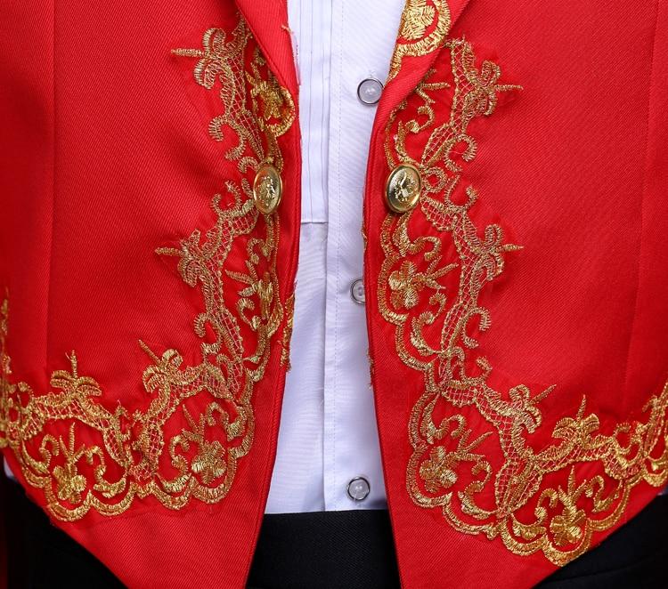 De veste Cérémonies Spectacle Hommes Mens Pantalons Avec white Chanteur Mariage Blanc Hôte Pantalon Costumes Black Tailcoat Rouge Noir red Classique Smoking r0qrAvw
