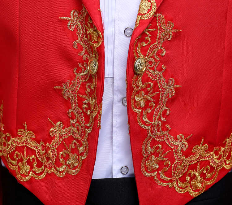 (Áo + Quần + áo) đen Trắng Đỏ Sân Khấu Ca Sĩ Dẫn Chương Trình Nghi Lễ Tuxedo Cổ Điển Đám Cưới Mens Phù Hợp Với Với Quần Người Đàn Ông Tailcoat