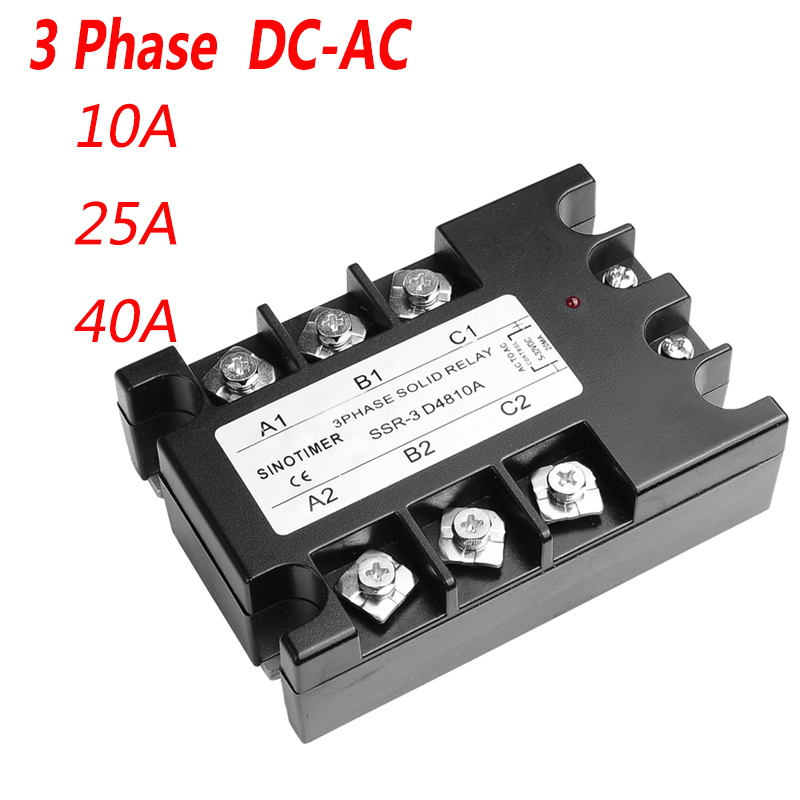40DA AC Output 3 Phase Solid State Relay 3-32V DC to 30-480V AC 10A 25A Module Switch Relay relais DC-AC 4 20ma to ac 28 280v 25a one phase 35mm din rail socket solid state relay