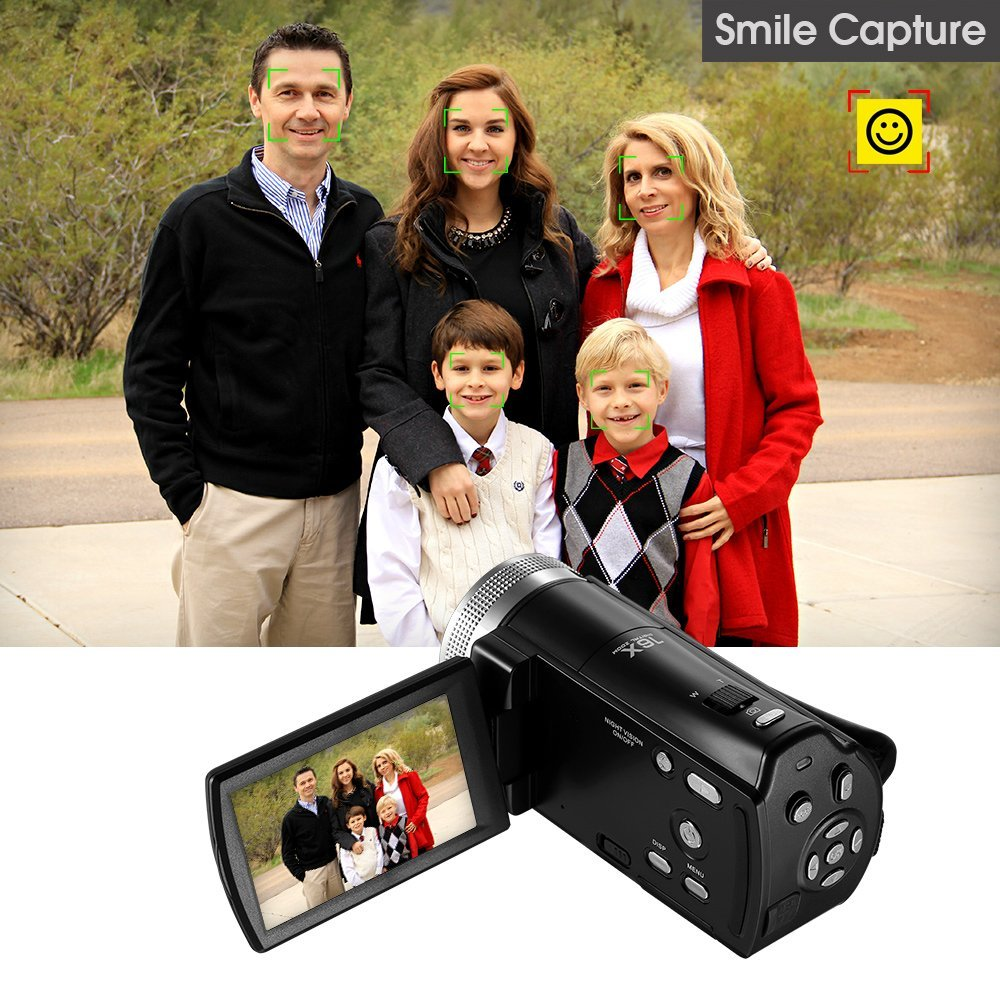 Camcorder Full HD 1080P Video Camera 16X Digital Zoom Infrared Night Vision DV Video Voice Recorder Remote Control With US Plug