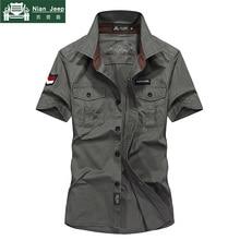 New Brand Army Military Shirt Mens Shirts 2018 Summer 100% Cotton Shor