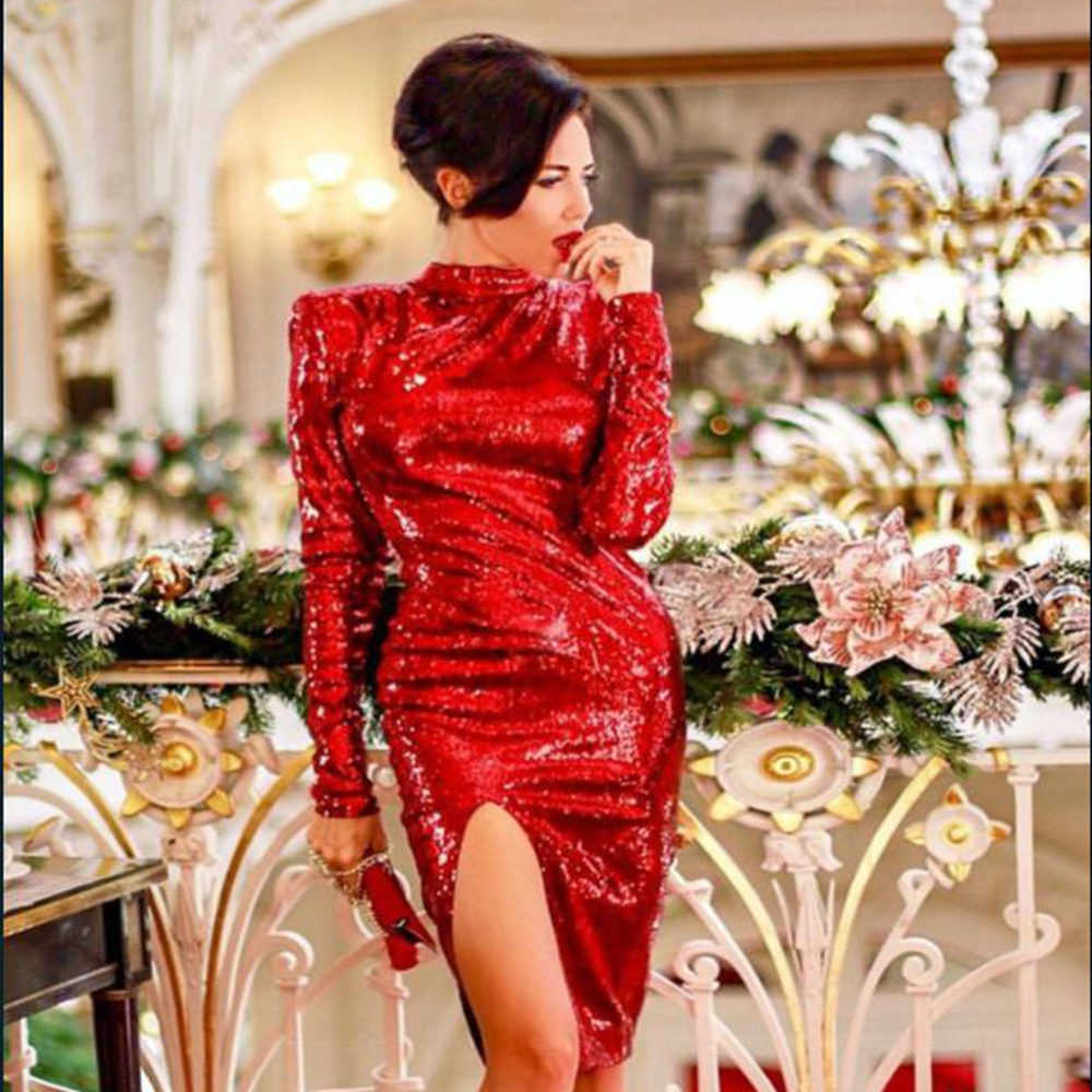 New Arrival Red Long Sleeve Sexy Backless Solid Women 2019 Fashion Sequin Dress Hotest Love Party Split Celebrity Party Vestido