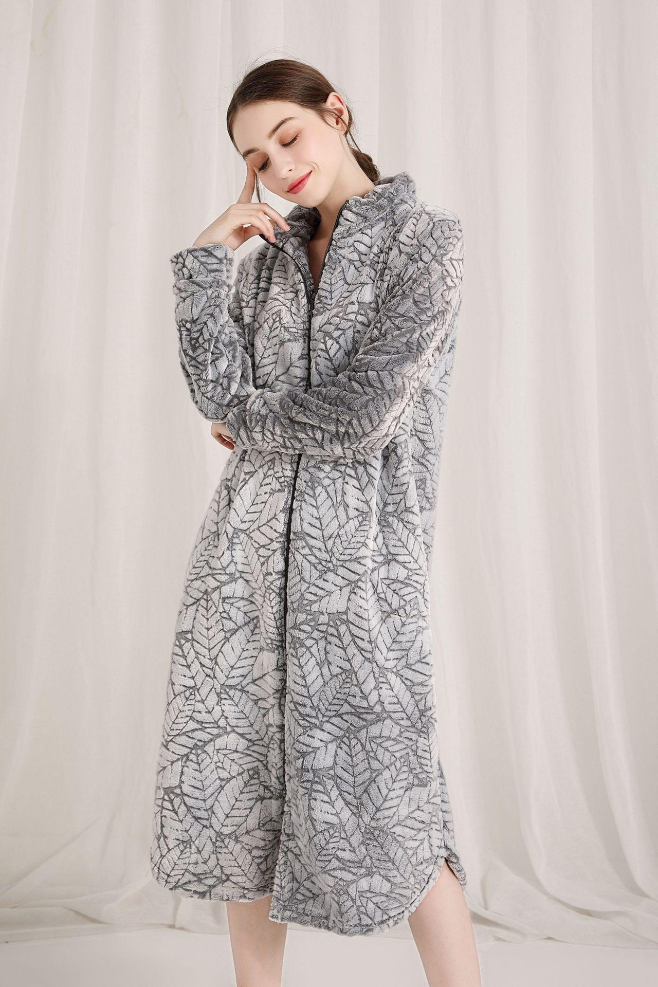 Image 2 - Fashion Coral velvet long robes women sexy sleepwear long sleeve thicken warm Quality zipper bathrobes women winter kimono robes-in Robes from Underwear & Sleepwears on AliExpress