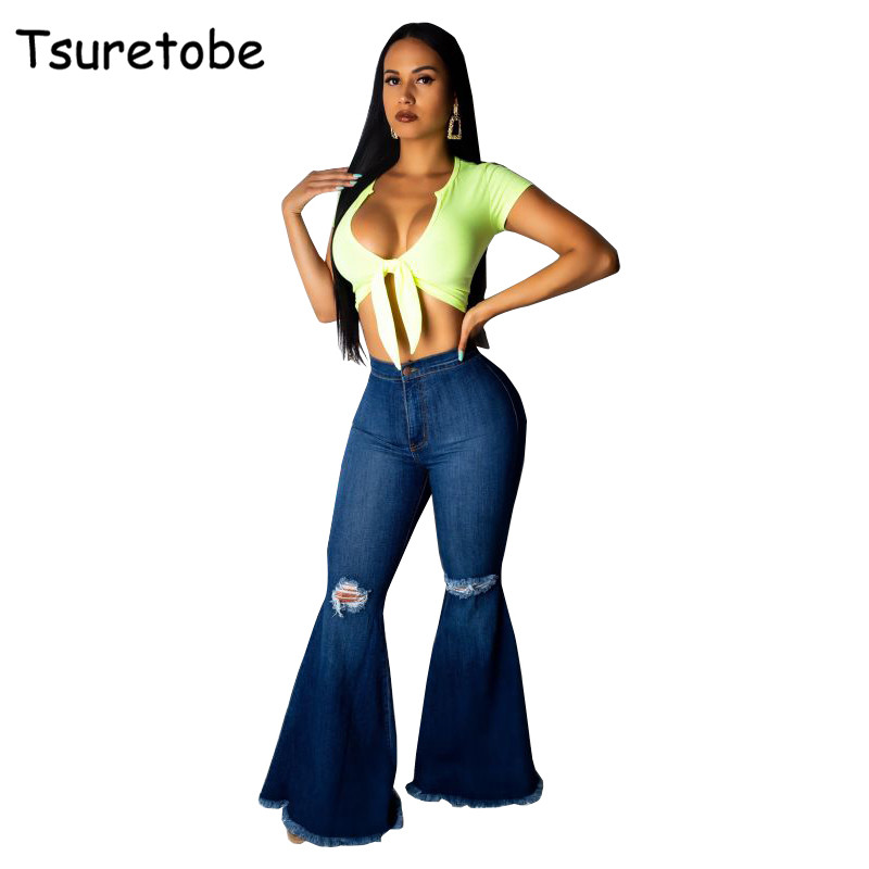 Tsuretobe Fashion Denim Flare Pants Women Retro Ripped Jeans Wide Leg Trousers Lady Casual Bell Bottoms