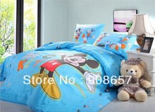 blue lovely mickey mouse prints twin full queen size duvet covers cotton bedding set children kids boys girls bed linens 3pc 4pc