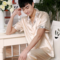 Summer men 's silk pajamas men' s spring short - sleeved silk pajamas men 's extra large yards of home service suits