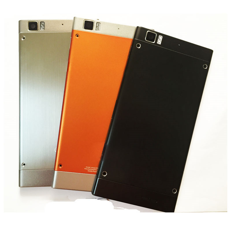 Metal Battery Door Back Cover Housing Case For Lenovo K900 With Power Volume Button Key Replacement Orange Sliver Black Color