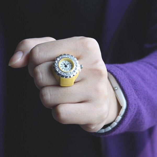 9 Colors Fashion Women Girls Crystal Ring Watch Jewelry Steel Stretchy Quartz Finger Watches Gifts Accessories LL@17 fashion finger ring watch women girls rhinestone round elastic quartz ring watch trendy jewelry gifts ll 17