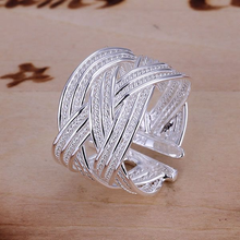 Wholesale jewelry silver color ring engagement wedding Bridal fashion Big Web Ring-Opened R024