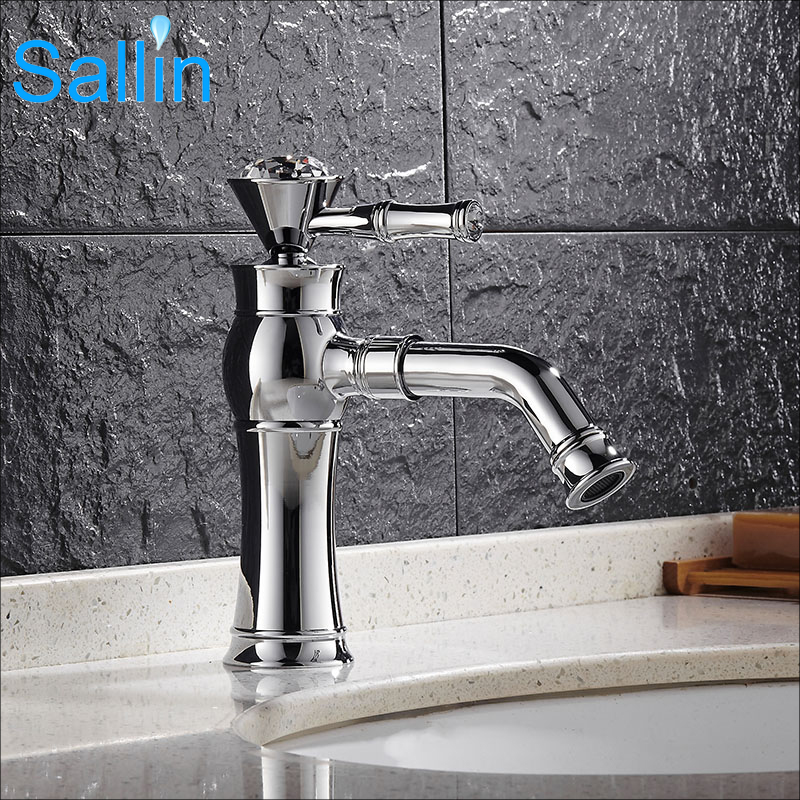Antique Classic Crystal Single Handle Chrome Brass Basin Faucet Hot and Cold Gold Waterfall Spout Bathroom Water Faucet Mixer