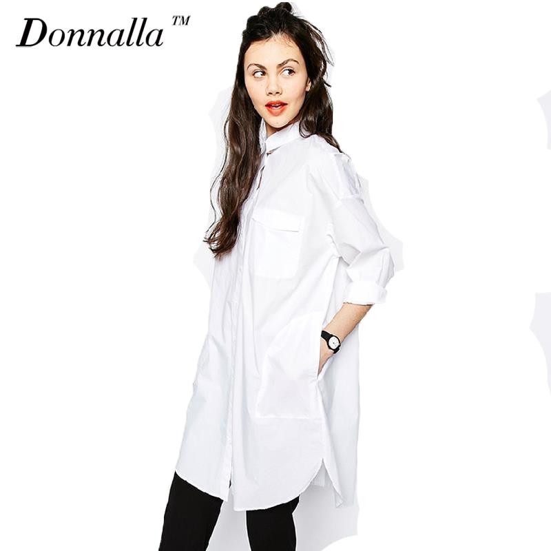 White Shirt Dress Women Boyfriend Style Long Sleeve -4912