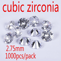 Wholesale Jewelry Supplies Swiss AAA Grade CZ Cubic Zirconia Round Zircon 2 75MM DIY Jewelry Findings