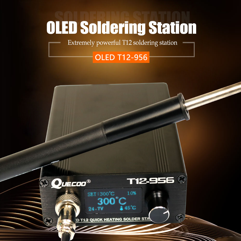Tools : STC T12-956 Soldering Station Electronic Soldering iron OLED Digital station T12 solder iron tip welding tool with T12-P9 handle