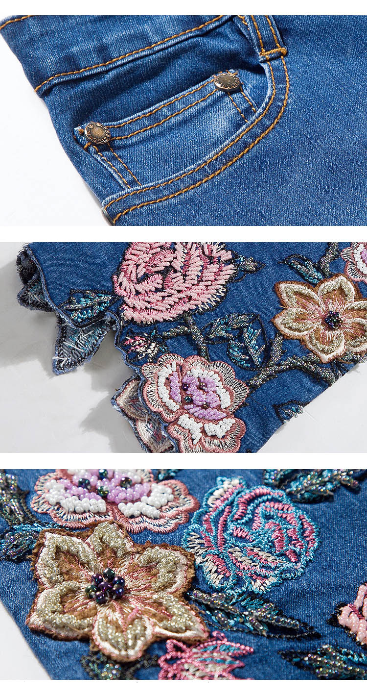 KSTUN FERZIGE 2020 Women Jeans with Embroidery High Waist Stretch Luxury Denim Pants Manual Embroidered Beads Bell Bottom Mom Jeans 36 19