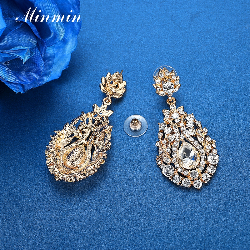 e28626e1194f Minmin Luxury Gold Color Large Wedding Drop Earrings for Women Vintage  Crystal Bridal Dangle Earrings 2019