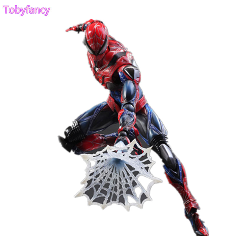 Spiderman Play Arts Kai Action Figure Spider Man 250MM Anime Model Toys Superhero Playarts Spider-Man Toy Doll Gift iron man action figure play arts kai the avengers grey ironman pvc toy 28cm anime movie model iron man playarts kai superhero
