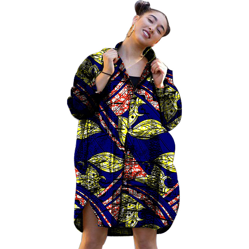 Leisure Personal Tailor Women African Print Dashiki Clothes Stand Collar Ladies Long Sleeve Hypertrophic Shirts Africa