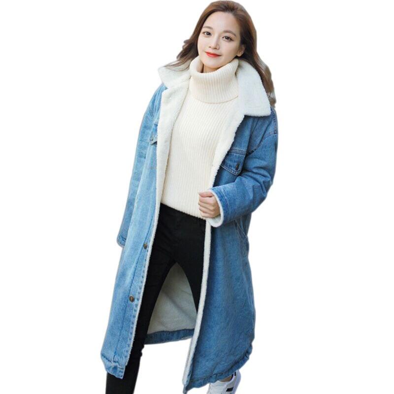 2088ddb58665 Jeans D hiver Mode 2018 Bomber Royal Chaud Ciel Hiver Casaco Feminino Vestes  bleu Femme Doublure Veste Nouveau Denim Pu Laine Automne Manteau Pour Femmes  ...