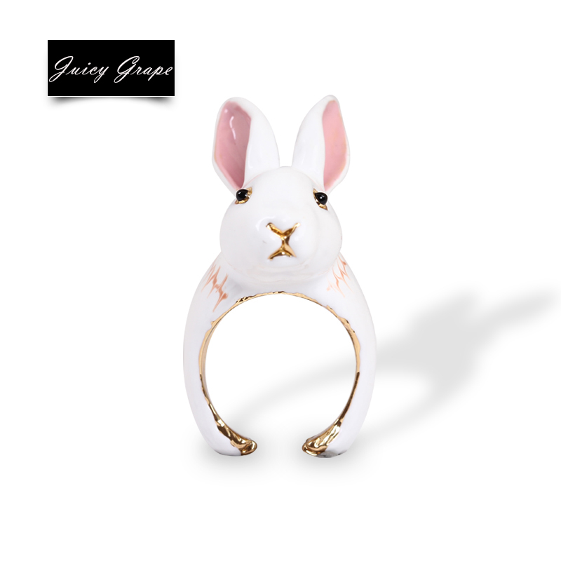2017 New Style Girl White Lovely Rabbit Ring Elegant Noble Anime Animal Jewelry Enamel Glaze Ring Fanshion Jewelry цена в Москве и Питере