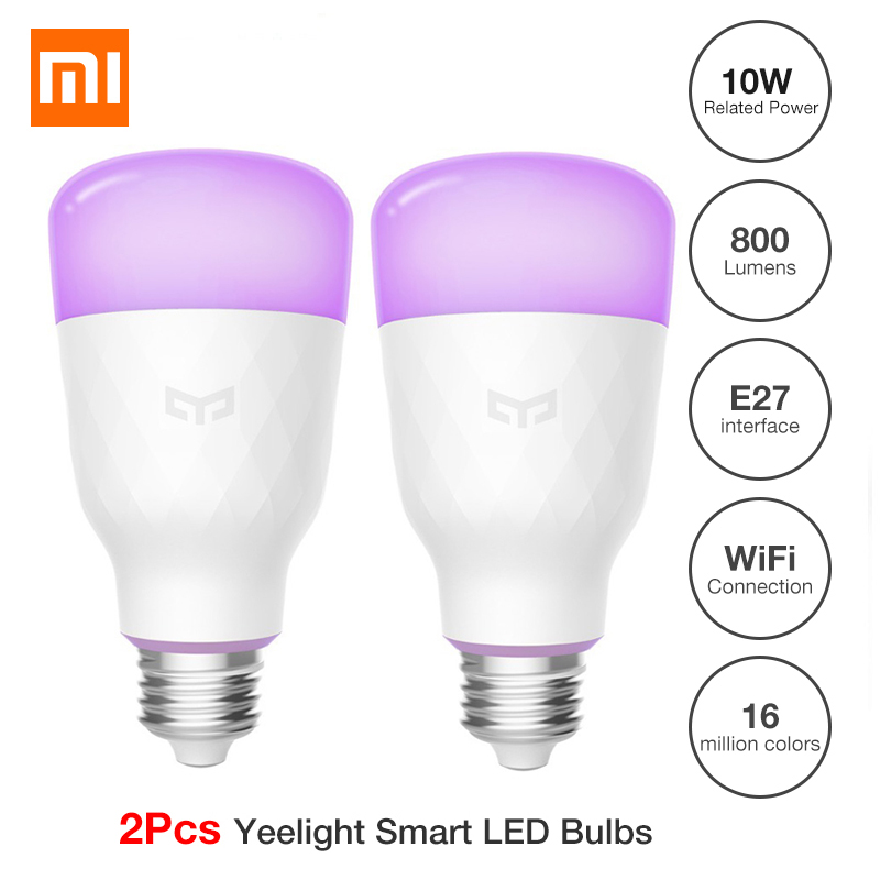 (Version mise à jour) 2 Pc Xiao mi Yeelight ampoule LED intelligente coloré 800 Lumens 10 W E27 citron lampe intelligente pour mi Home App blanc/RGB Option