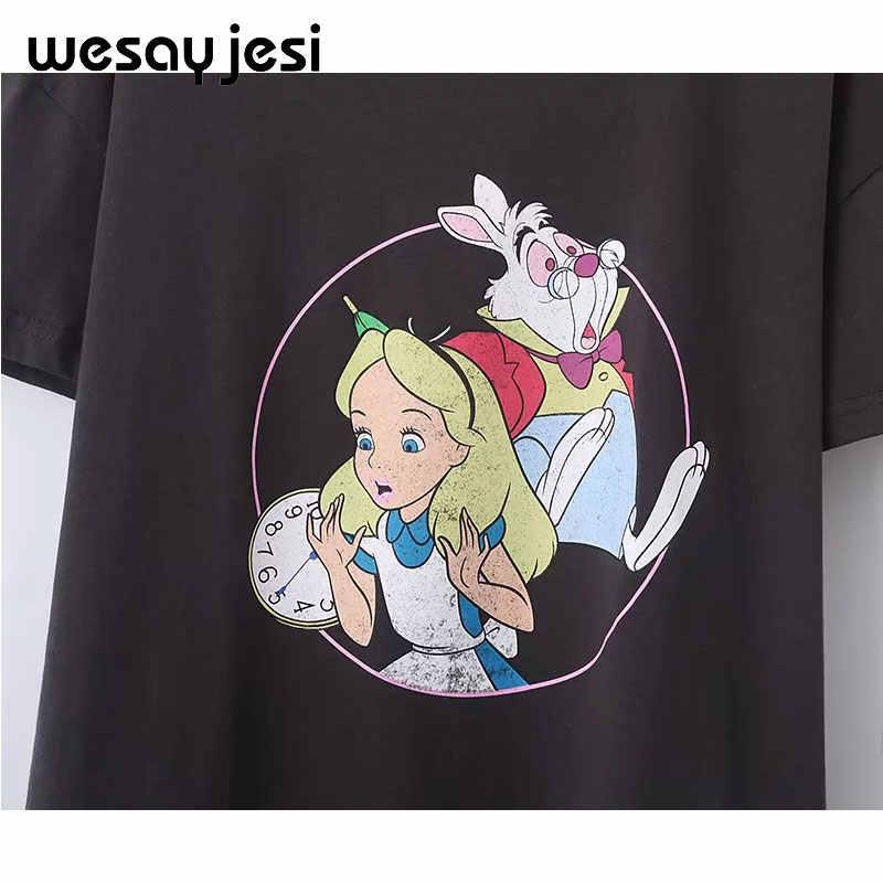 2019 yaz t gömlek kadın harajuku kore giyim streetwear karikatür kız tavşan baskı pamuk o-boyun beyaz tişört üstleri artı boyutu