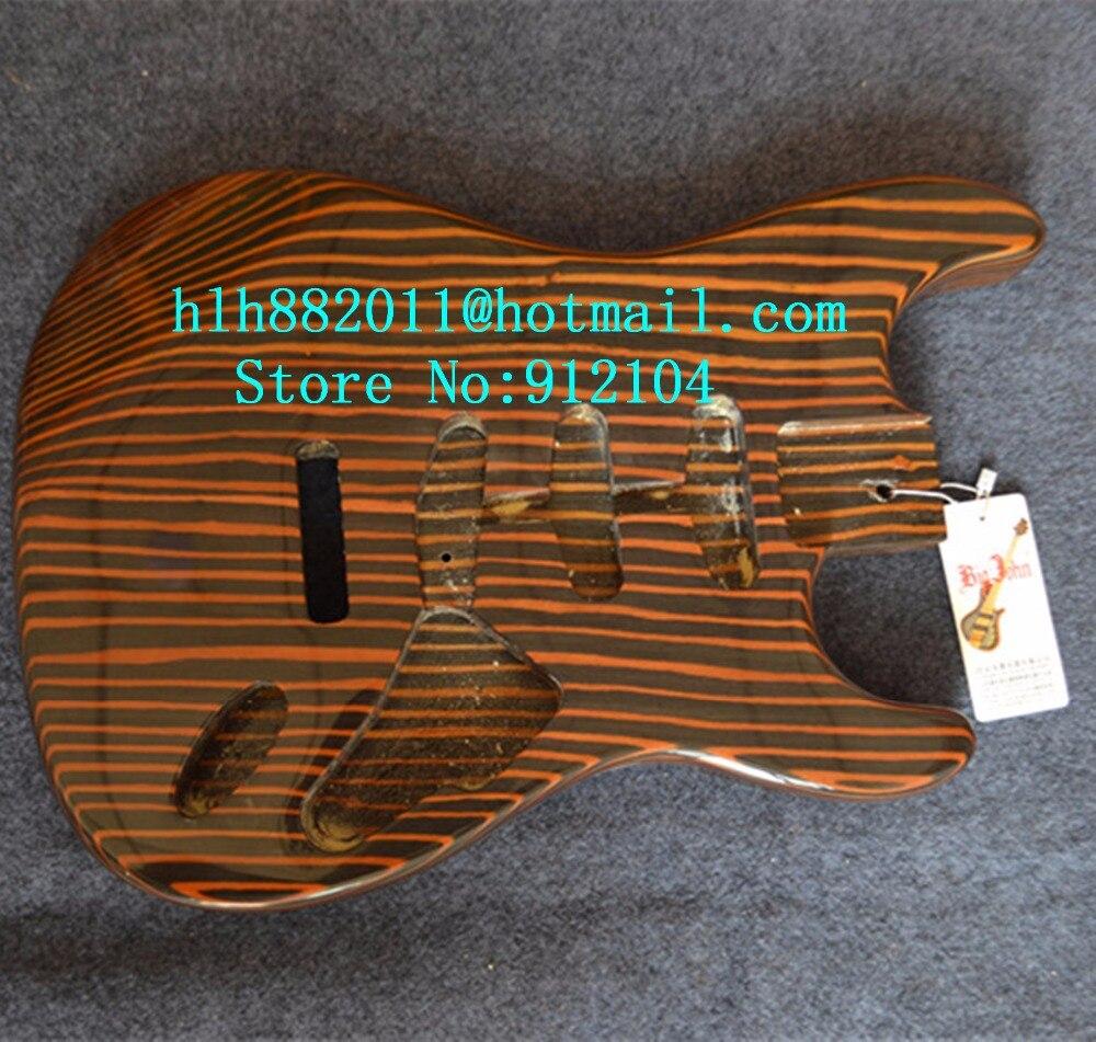 Nouveau corps de guitare électrique Big John simple vague avec F-3324 en bois de zèbre rouge