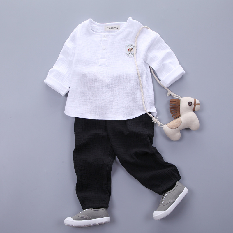 HTB1zsyFSXXXXXcGXXXXq6xXFXXXv - Infantis Childrens spring autumn summer cotton Boys tops tees long sleeve t shirt +bind pants 2pc/set ,kids Clothes 0-5Year