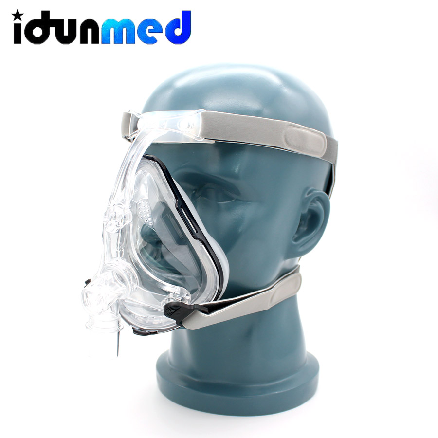 BMC Auto CPAP APAP BiPAP Full Face Respirator Mask Breathing With Adjustable Chin Headgear Strap For