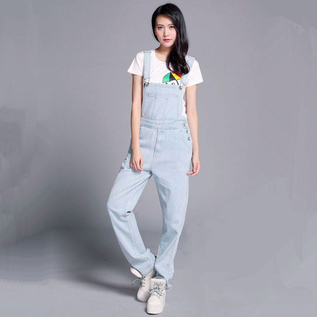 Free Shipping 2016 Fashion Light Blue Denim Bib Pants Loose Plus Size Casual Spaghetti Strap Pants Vintage One Piece Trousers