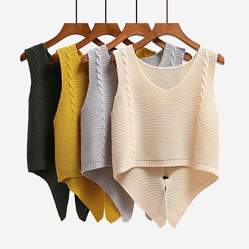 Back Split Bow Short Women Knitted Vest Irregular Dovetail Sleeveless Waistcoat For Girls School Sweater Solid Color Gilet Femme