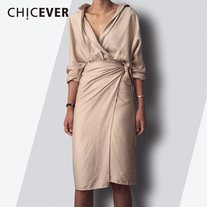 CHICEVER 2020 Spring Fashion Women <font><b>Dress</b></font> <font><b>Sexy</b></font> <font><b>V</b></font> <font><b>Neck</b></font> Slim Hem Split Casual Temperament Bandage <font><b>Dresses</b></font> Female Clothes New image