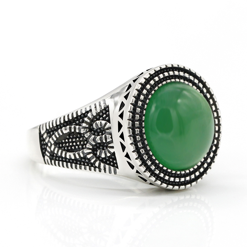 Men Ring 925 Sterling Silver Round Shape Green Natural Stone Similar to Owl Pattern Vintage for Women Men Lovers Jewelry in Rings from Jewelry Accessories