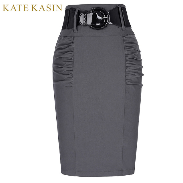 ac0922fe3c0 Kate Kasin Women Office Work Pencil Midi Skirt With Belt Slim Fit Summer Bodycon  Skirts Elegant