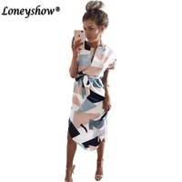 2017 Beach Summer Dress Geometric Print Boho Style Short Sleeve Women Sundress Elegant Midi Party Dresses