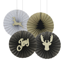 4pcs Metal Textured Retro Gold Black Christmas Paper Fans Pinwheel Rosettes Holiday Backdrop Craft Kit Party Dec
